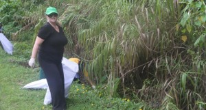 Ministry of Forests acting permanent secretary, Bernadette Welch, during the clean up campaign at Colo-i-Suva Forest Reserves on January 24, 2018. Photo: Lusiana Tuimaisala