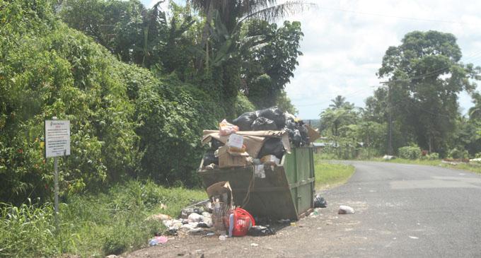 The full and overflowing rubbish dumpster at Godfrey Road in Nasinu on January 11, 2018. Photo: Lusiana Tuimaisala