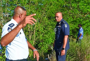 Commissioner of Police, Brigadier General Sitiveni Qiliho with his officers at the scene where Kishore Dutt was aprrehnded by police in Saweni , Lautoka . Photo : Arieta Vakasukawaqa