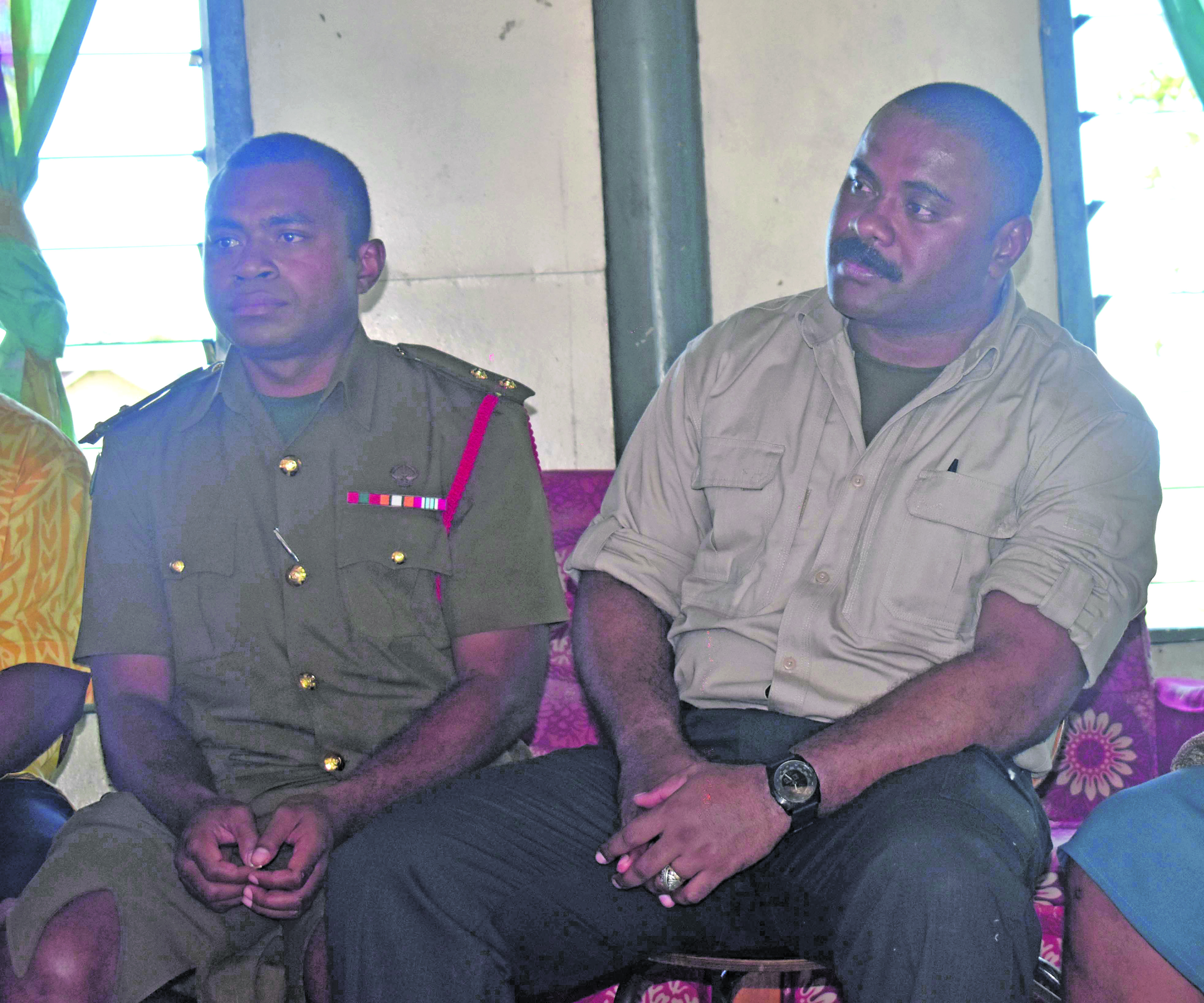 Republic of the Fiji Military Forces, Lieutenant Koli Niumataiwalu and Major Simione Qionibaravilala  during the traditional welcoming ceremony accorded to the 23 military personnel who  returned from Iraq on 5 January 2017. Photo: Lusiaana Banuve