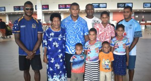 Apisai Tavutu (third from left) with his family at Nadi Airport before flying off to New Zealand. Photo: Arieta Vakasukawaqa