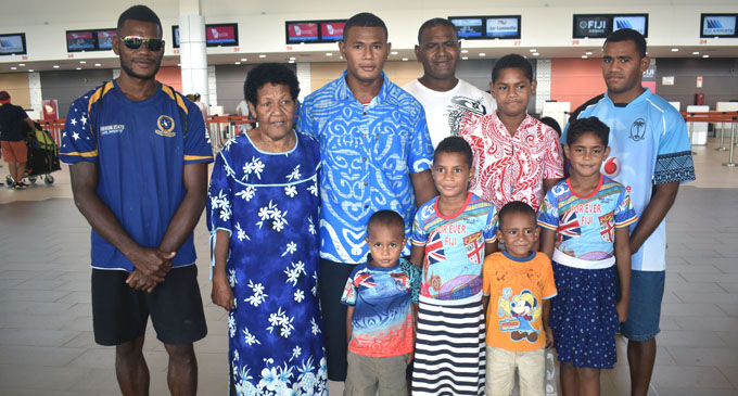 Apisai Tavutu (third from left) with his family at Nadi Airport before flying off to New Zealand. Photo: Arieta Vakasukawaqa