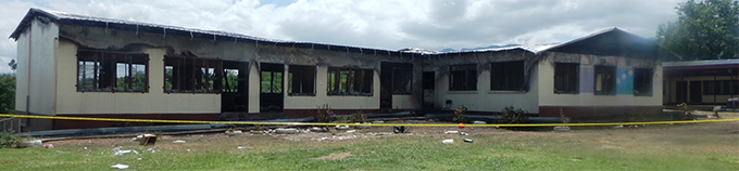 The burnt out classrooms at Ami Chandra Memorial School in Lautoka. Photo: Charles Chambers