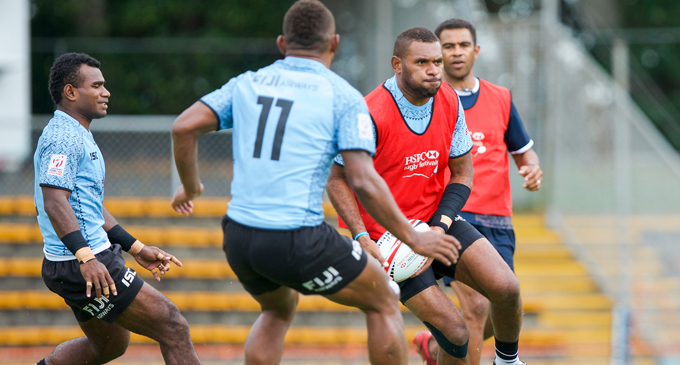 Fiji Airways Fijian 7s forward Jasa Veremalua with the ball during training at the Leichardt Oval in Sydney, Australia on January 25, 2018. Photo: Kitione Rokomanu/Zoom Fiji Photo:  Kitione Rokomanu/ Zoom Fiji