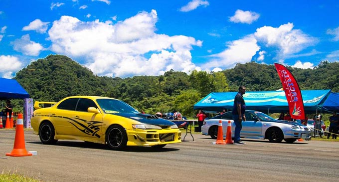 Cars ready for the Pacific Energy quartermile drag race last month. Photo:  Pacific Energy.