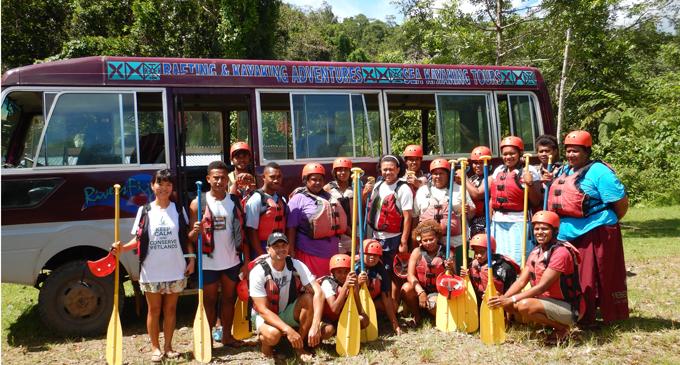 Landowners of Cawanisa clan, staff of River Fiji and Native Fiji with Fiji Sun journalist Lusiana Tuimaisala (Front far right). Photo: Rivers Fiji.