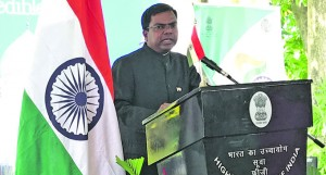 Indian High Commissioner to Fiji, Vishvas Sapkal delivered his keynote address during the India's 69th Republic Day celebration at his residence in Suva on January 26, 2018. Photo: Ashna Kumar