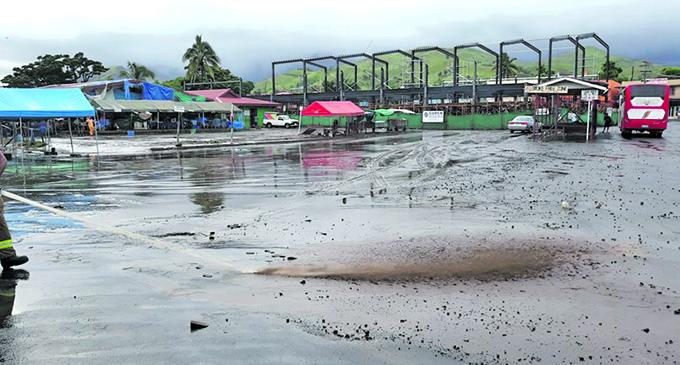 Water receeding at the end of Rakiraki town following the recent flooding. Photo: Supplied