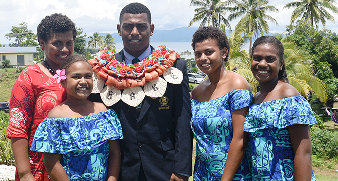 From left: Ruci Rakoto with her three daughters (from left) Carmella, Lola, Leonisa and son, Aisake Matarerega, in Tailevu on February 4, 2018. Photo: Losirene Lacanivalu