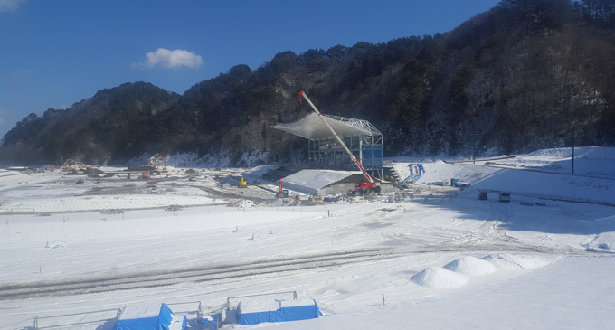 Works continue on the new Kamaishi Unosumai Stadium, Japan, on February 6, 2018. Photo: Leone Cabenatabua