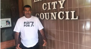 Lautoka City Council CEO Jone Nakauvadra supporting the Fiji for 7s Bid. Photo:  Fiji Rugby Union
