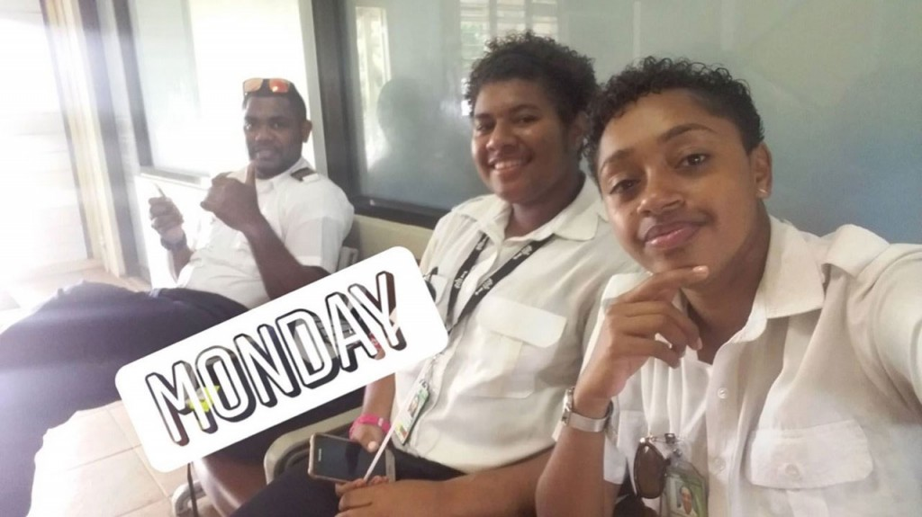 From left: Flight school instructor Iliesa Tawalo, with student pilots Merelesita Lutu and Kalara Derederenalagi at Waiqele Airport, Labasa, on February 26, 2018.