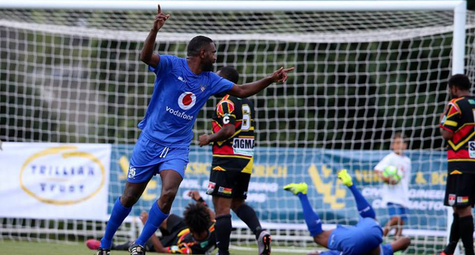 Lautoka FC striker Osea Vakatalesau celebrates Benjamin Totori's goal against Madang FC in the OFC Champiosn League opener at Trusts Arena, Auckland in New Zealand on February 25, 2018. Lautoka FC won 3-1. Photo: OFC Media