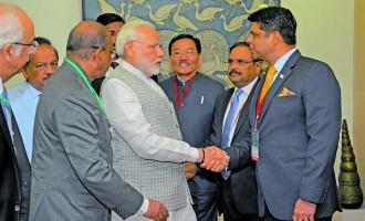 Modi Greets A-G At Big Summit In New Delhi