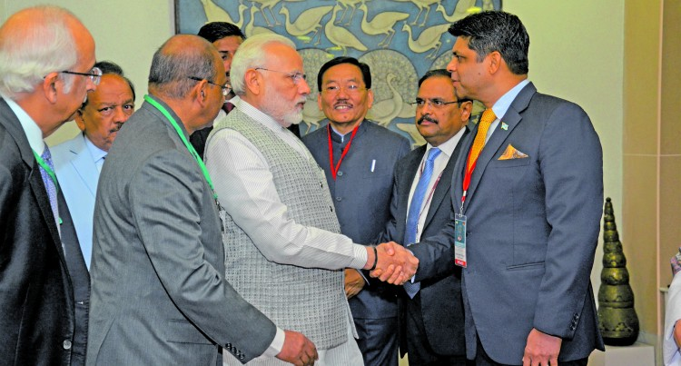 Modi Greets A-G At Big Summit In New Delhi