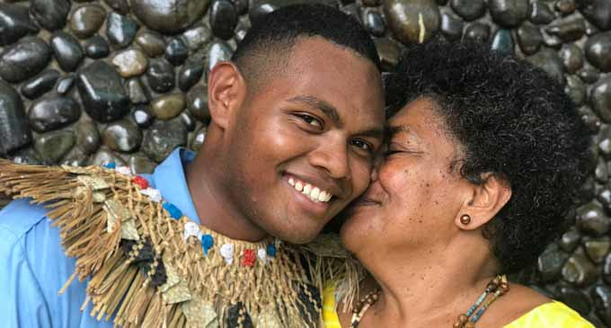 Gospel High School headboy Timoci Ratudradra with his grandmother Reave Lauji on February 2, 2018. Photo: Sheldon Chanel