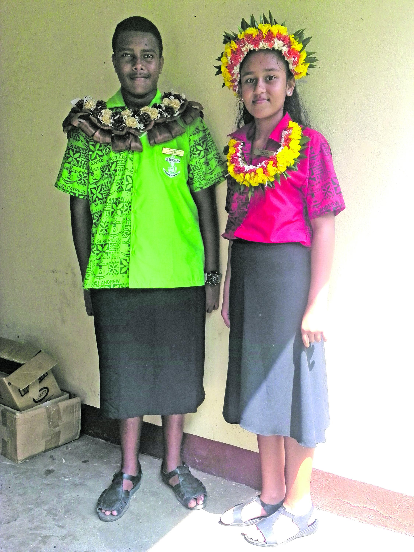 Headboy Emosi Vunitabua (left), and headgirl Eden Wedlock of St Thomas  Primary School in Lautoka on February 2, 2018.  Photo: Karalaini Tavi