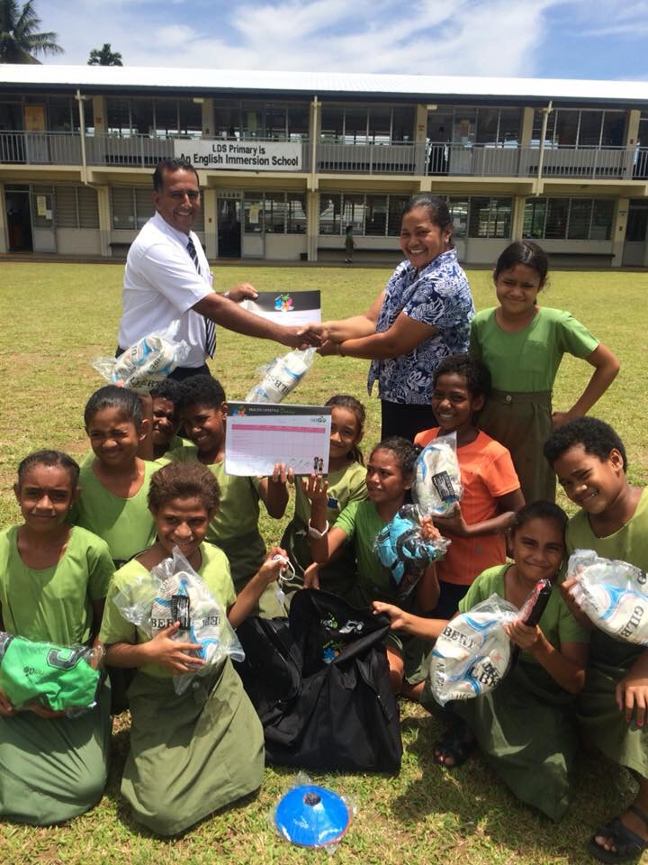 Latter Day Saints Primary School students and teachers with their NetGO netball kits on January 26, 2018.Photo: Una Rokoura