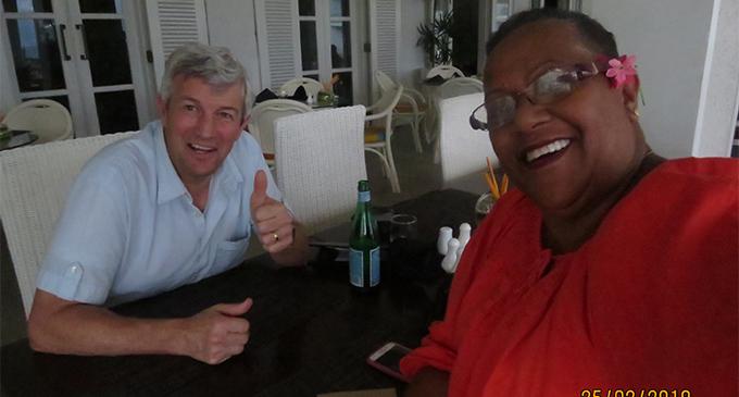 Producer, director and script writer Mitch Davis (left) with Fiji LDS Director of Public Affairs Sulueti Kama. Photo: Church of Jesus Christ of Latter-day Saints