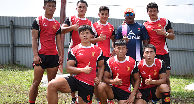 China Men's One team at the Ram Sami Nasinu 7s tournament at Ratu Cakobau Park, Nausori on February 17, 2018.  Photo: Ronald Kumar
