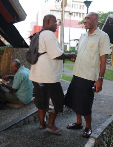 RFMF Commander Rear Admiral Viliame Naupoto meeting with one of those who were assisted by the RFMF at Ratu Sukuna Park, Suva on February 22, 2018. Photo: RFMF Media Cell.