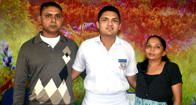 From left: Ashish Lal with son and Swami Vivekananda College Year 12A prefect Thrivell Lal and wife, Kavita Ben after the school's prefect induction on February 8, 2018. Photo: Arieta Vakasukawaqa