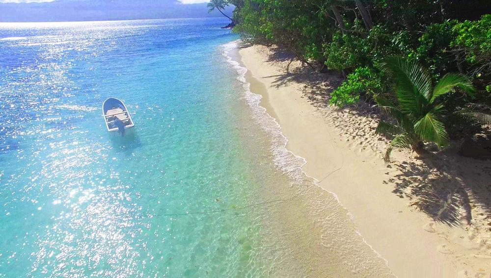 Maqai Beach Eco Surf Resort's beachfront.