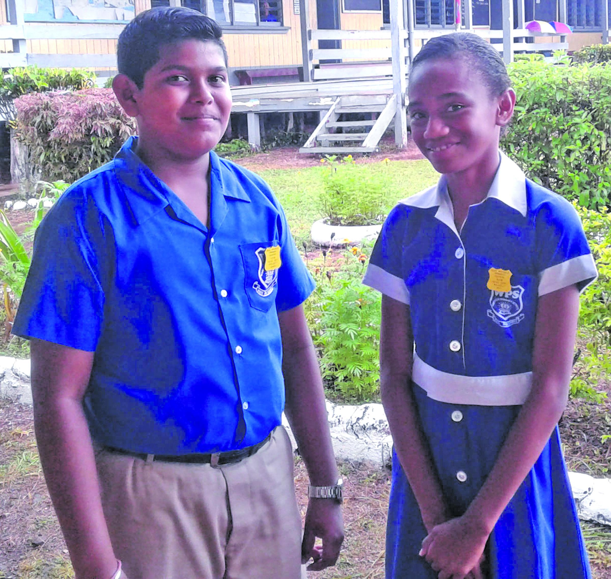 Waiqele Primary School headboy Prajeet Singh (left), and headgirl Raijeli Biu in Labasa on February 1, 2018.