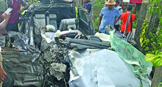 What remained of the taxi that was involved in yesterday's accident at Davuilevu , Nausori. Photo: Ronald Kumar