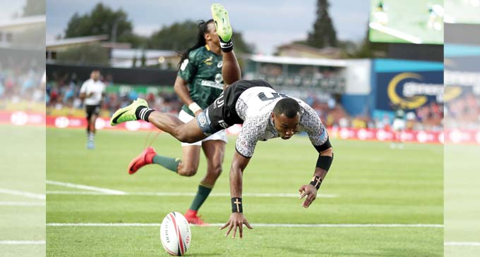 Fiji Airways Fijian 7s rep Aloesi Naduva scores in the 24-17 Cup final win against South Africa in Hamilton on February 4, 2018. Photo: World Rugby