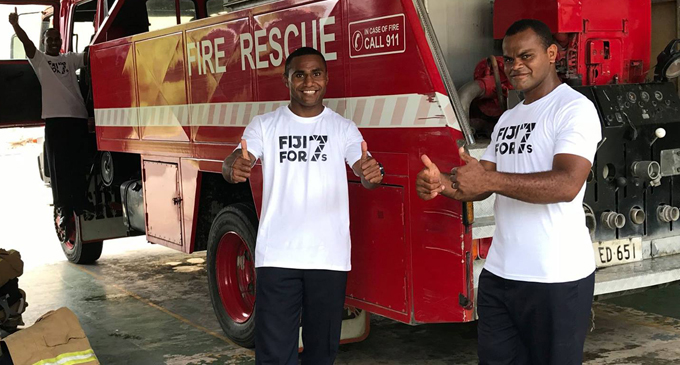 Firefighters at the Sigatoka Fire Station supporting the 7s bid.Photo:  Fiji Rugby Union
