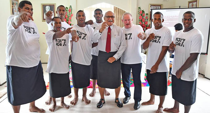 Now it's time... President (Ret'd) Major General Jioji Konrote (right) is behind Fiji 7s bid to World Rugby. after registering online at Borron House, Suva on February 26, 2018. Photo: Nacanieli Tuilevuka