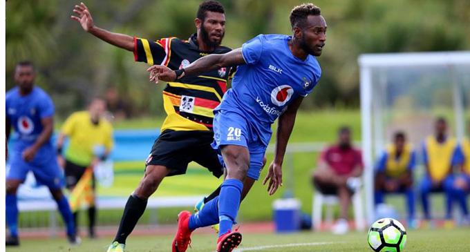 Lautoka FC midfielder Brian Kaltack dictates play against Madang FC during the OFC Champions League opener. Photo: OFC Media