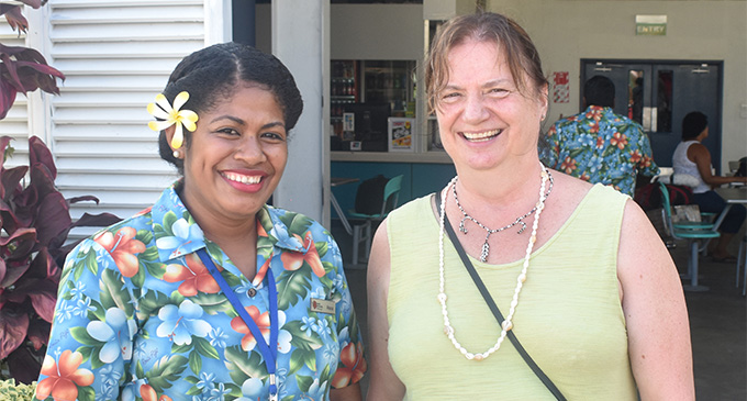 Rosie Holidays representative Ateca Naqiolevu and Commonwealth  Association of Museums secretary-general Catherine Cole in Nadi.  Photo: Waisea Nasokia