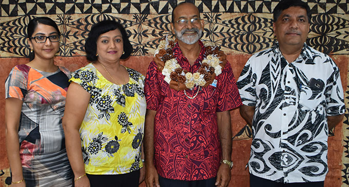 Gurbachan Singh Memorial Trust chairman and trustee Charan Jeath Singh (right) with his wife Swaran Singh and daughter Mandvi Singh after the handing over of donation to University of the South Pacific vice chancellor and president Professor Rajesh Chandra (third from left) during the opening of the USP Pacific Technical and Further Education at Gurbachan Singh Mall in Labasa on February 2, 2018.    Photo: Shratika Naidu