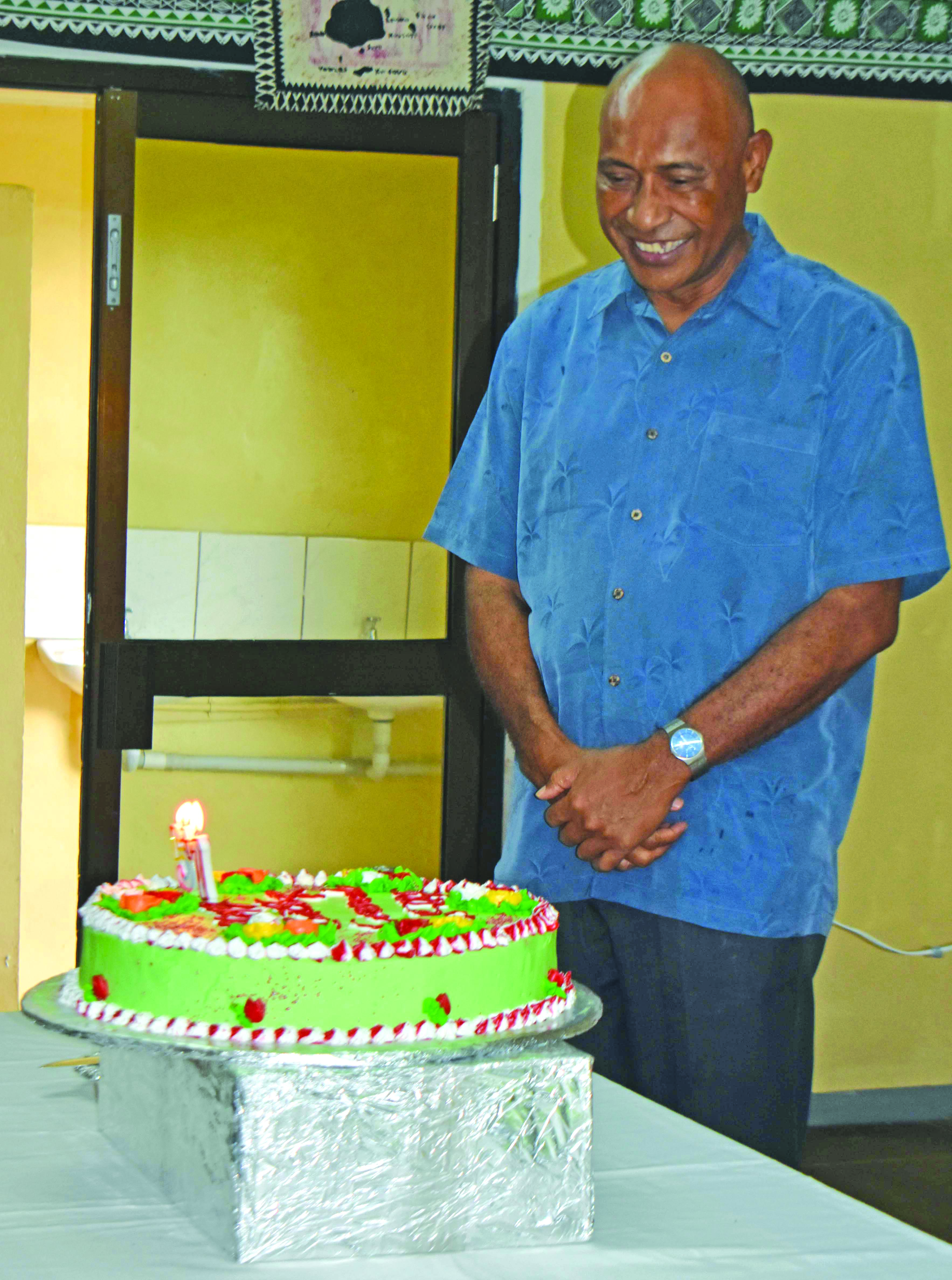 Republic of Fiji Military Forces Commander Rear Admiral Viliame Naupoto were given birthday surprise by the officers of Sukanaivalu Barrack in Labasa during his short visit on February 7. Photo:Shratika Naidu