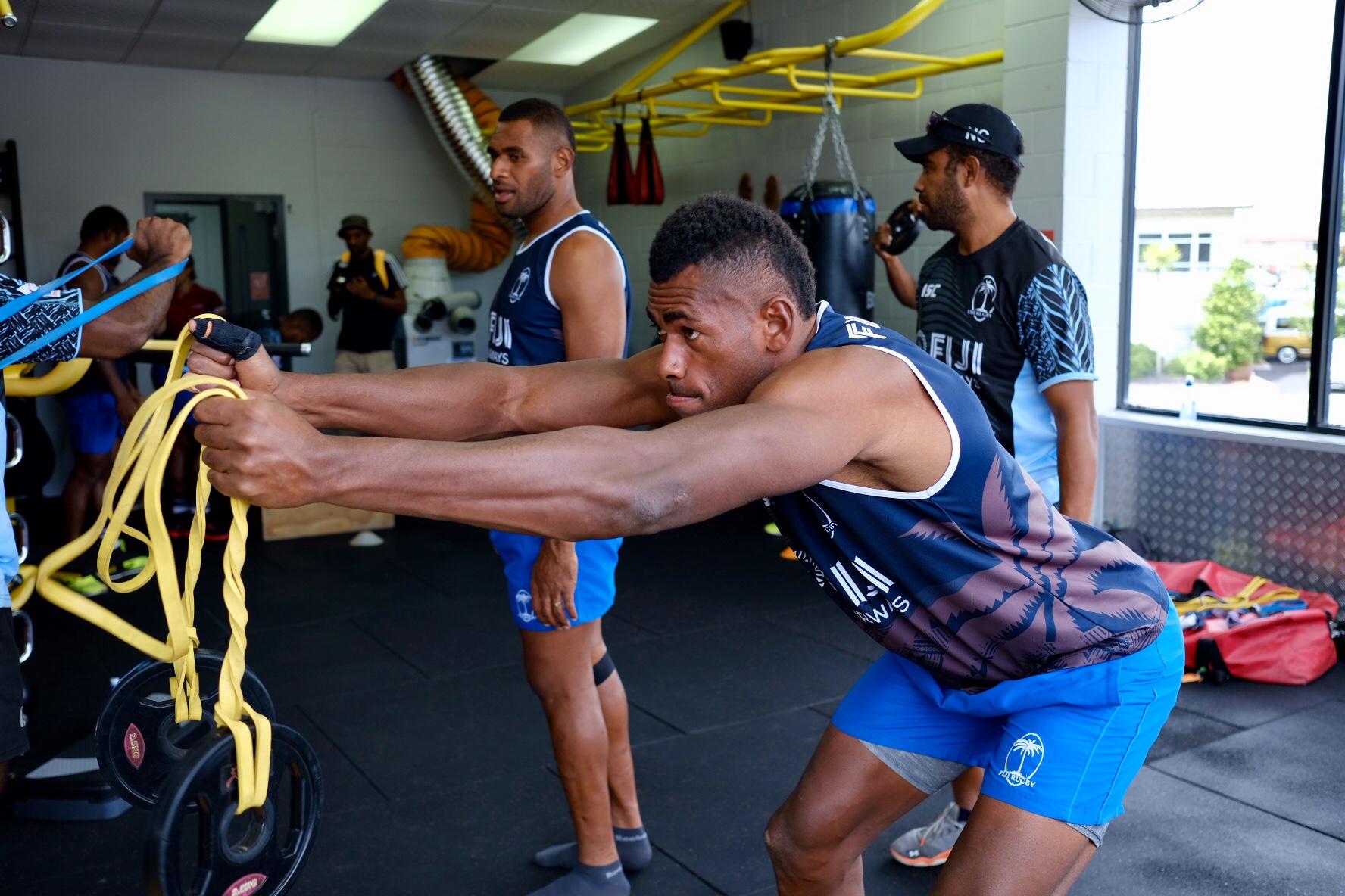 Fiji Airways Fijian 7s rep Sevuloni Mocenacagi trains in a gym in Hamilton on January 31, 2018.  Photo:  Bruce Southwick/zoomfiji.