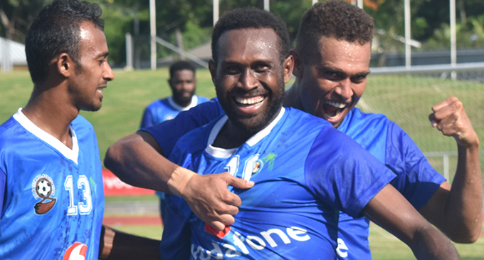 Lautoka striker Benjamin Totori (middle) celebrates after scoring one of his two goals against Suva in the Vodafone Premier League clash at Churchill Park, Lautoka on February 18, 2018.    Photo: Waisea Nasokia