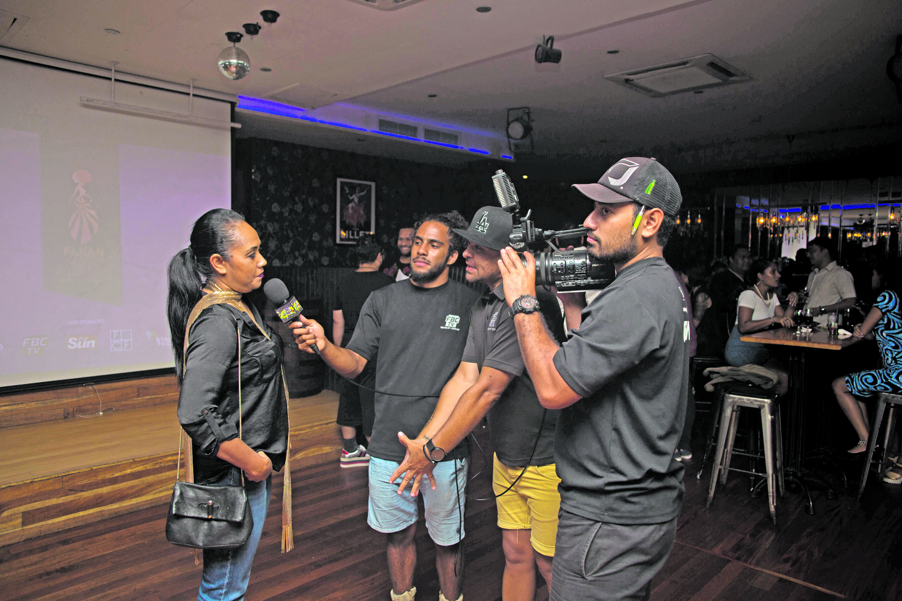 Fashion Council of Fiji Business Manager and Fijian Fashion Festival Trustee Elaine Taylor being interviewed by media partner FBC.