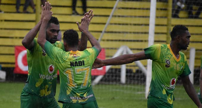 Rusiate Matirerega (left) of Nadi celebrates after scoring against Labasa at Subrail Park on February 10, 2018. Photo: Shratika Naidu