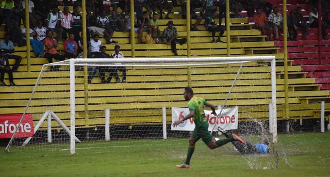 Napolioni Qasevakatini of Nadi scores the first goal in the second half of Vodafone Premier League against Labasa at Subrail Park on February 10, 2018. Photo: Shratika Naidu.