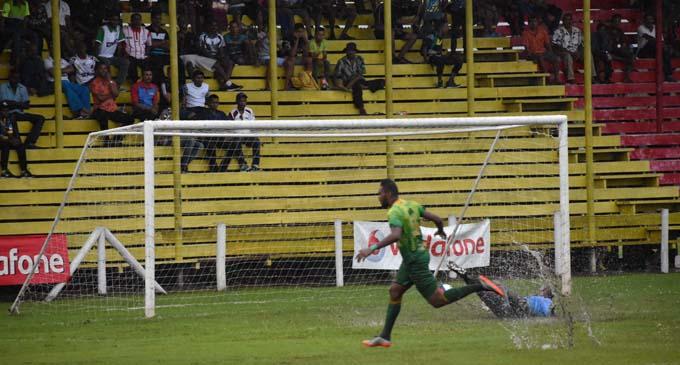 Napolioni Qasevakatini of Nadi scores the first goal in the second half of Vodafone Premier League against Labasa at Subrail Park on February 10, 2018. Photo: Shratika Naidu.