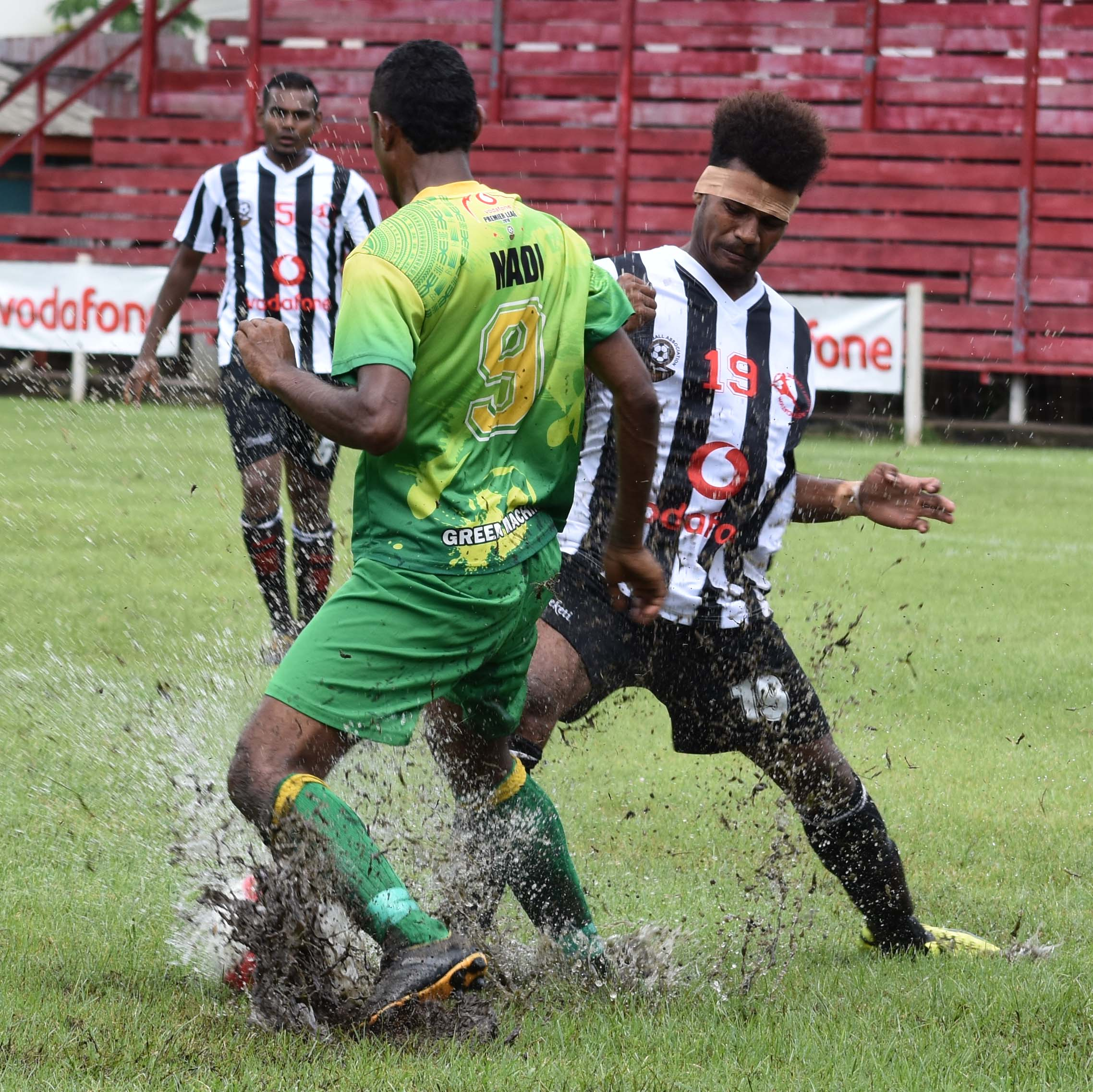 Dreketi defender Akeimi Ralulu defends against Jack's Nadi during their Vodafone Premier League clash at Subrail Park, Labasa, on February 11, 2018.  Photo: Shratika Naidu