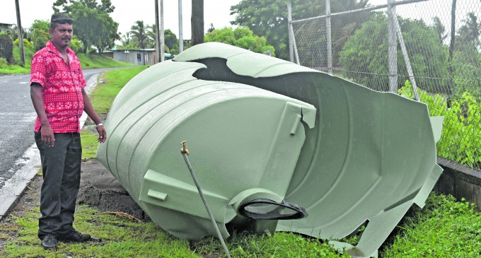 Heavy Weather Destroys Water Tank During Water Cuts