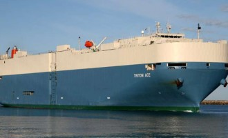 Vehicle Carrier Vessel Offloads Second Hand Cars