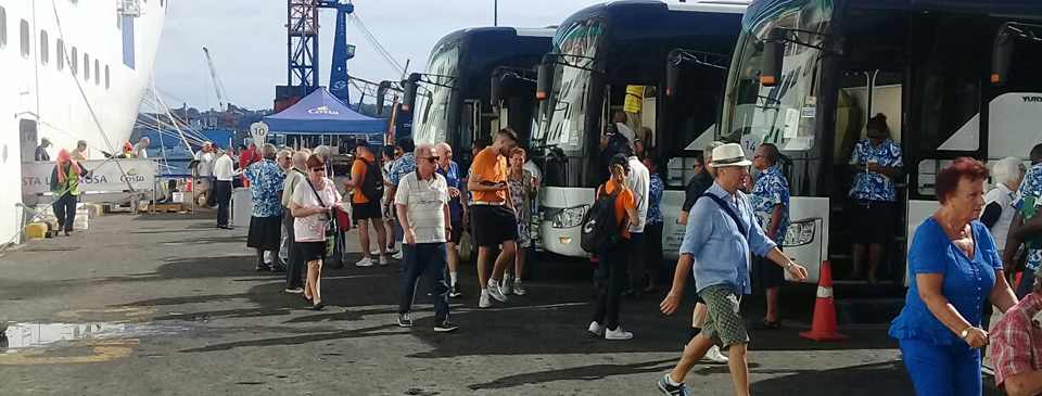 Explorer of the Sea tourists ready to board tour buses at the Lautoka Wharf on February 28, 2018.