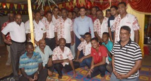 Attorney-General and Minister for Economy Aiyaz Sayed-Khaiyum at Waituri, Nausori, with members of the Waituri community after the Ram Navami celebration on March 21, 2018. Photo: DEPTFO