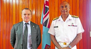 The Australian High Commissioner to Fiji, John Feakes, (left), with the RFMF Commander Rear Admiral Viliame Naupoto at the RFMF Headquarters at Berkley Crescent in Suva on March 5, 2018. Photo: Australian High Commission Media.