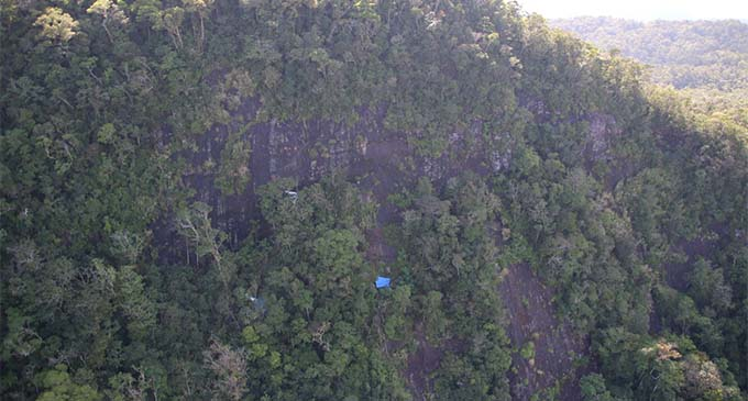 Blue tarps used to mark wreckage for helicopters to pick up. PHOTO: DEPTFO