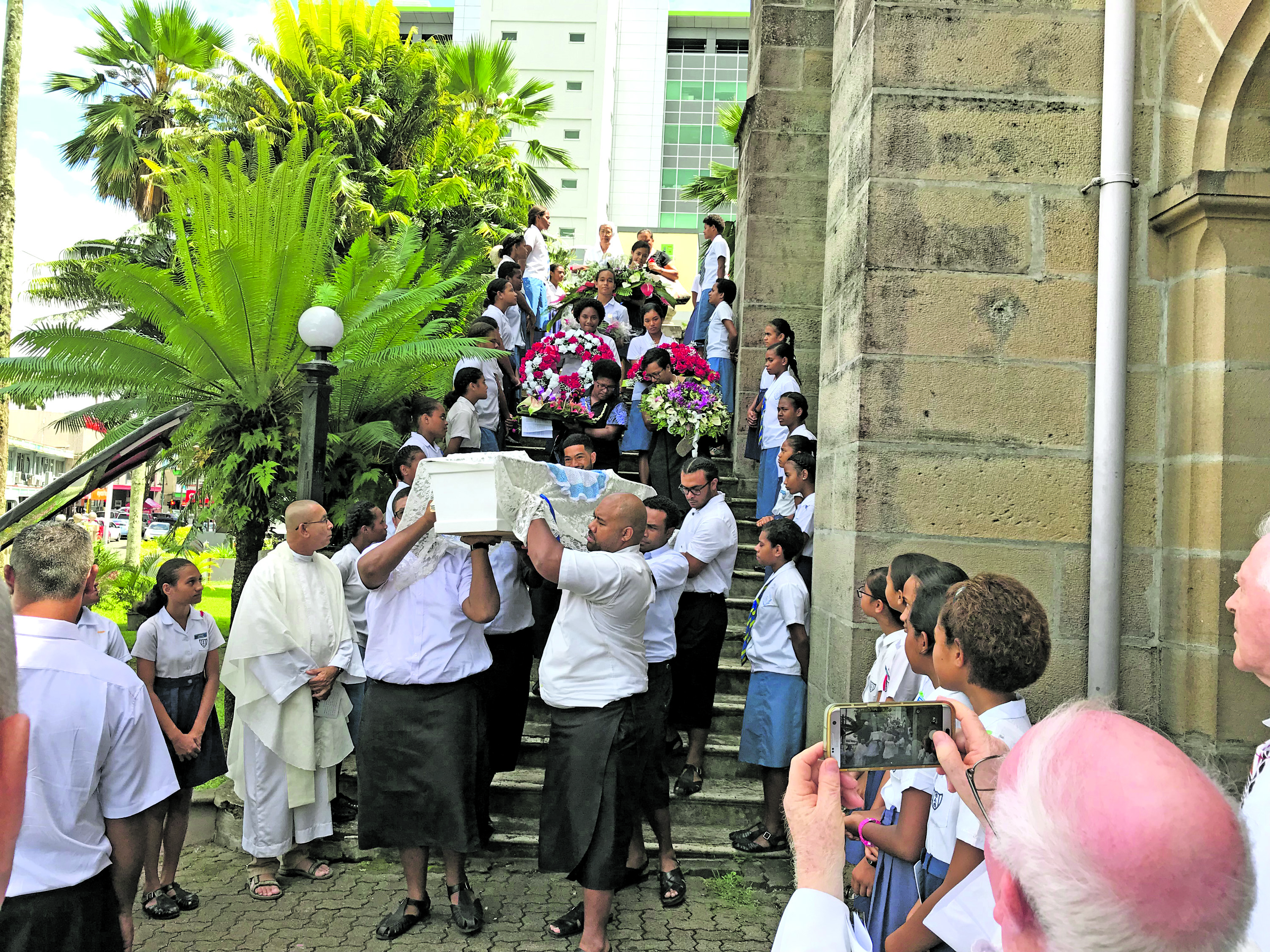 Pall-bearers carry the coffin of the late Sister Angela Cavey to the hearse before she was taken to the Old Suva Cemetery and laid to rest on March 6, 2018. Photo: Ashna Kumar